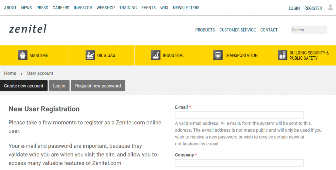 Create a Zenitel account - picture